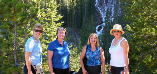 Toastmaster friends in Canmore after attending the International Convention in Calgary. Pictured are L-R Bev Doern, Sherryl Berglund, Doreen & Dianne Winser.
