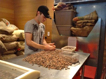 sorting-cocoa-beans at dandelion chocolate