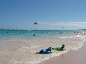 the beautiful beach at the Bahia Principe Resort