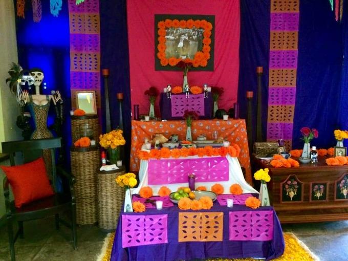 This colourful alter shows how one villa was preparing for Dia de los Muertos